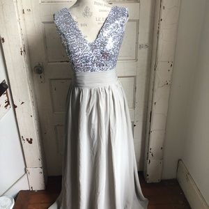Formal silver sequin with gray sheer skirt
